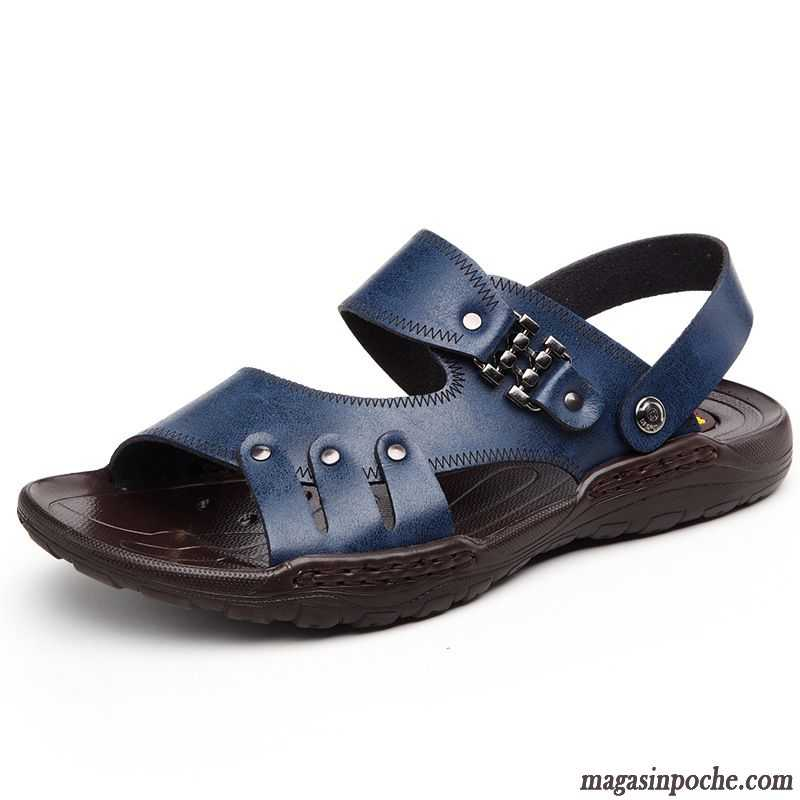fd946247878 Chaussures Sandales Pas Cher Cuir Été Homme Chaussures En Cuir De Plein Air  Chaussons Casual Plage ...