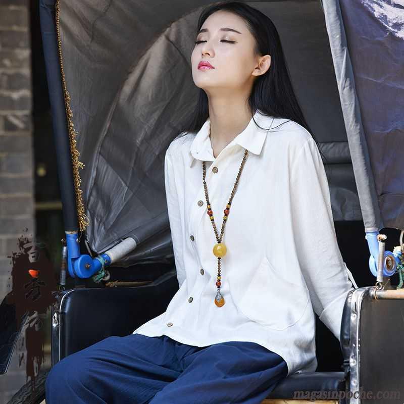 Chemise Jean Femme Chemise Pardessus Style Chinois Manches Longues Tous Les  Assortis L\u0027automne Et L\u0027hiver