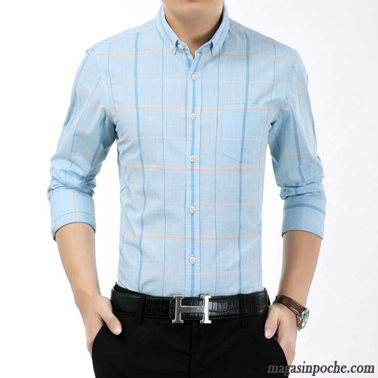 6eed1afea873e Chemise Moderne Homme Coton Bio Carreaux Manches Longues Homme Slim  Jeunesse L automne Chemise Blanc Pas Cher