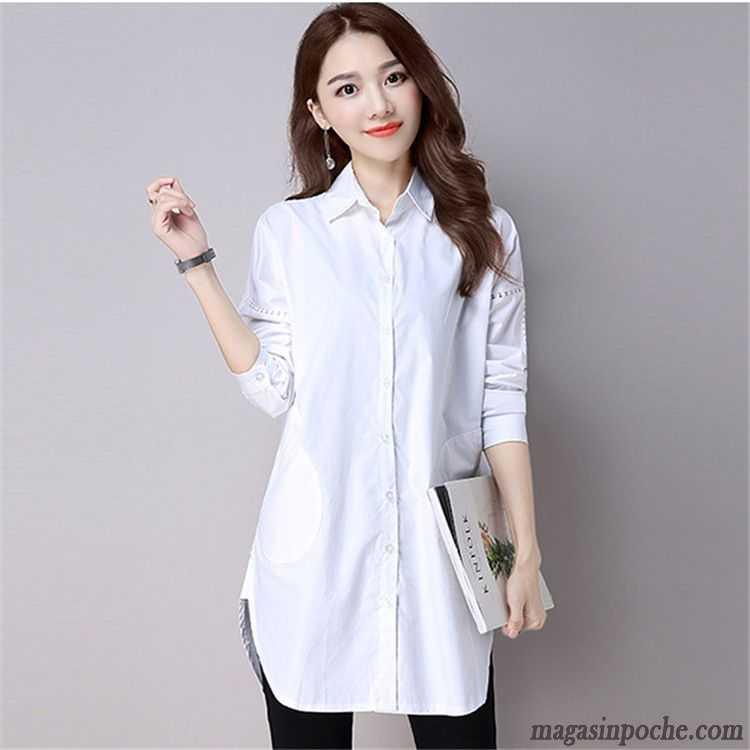 Chemise femme blanche longue - Vetement fitness et mode d2d169f2271d