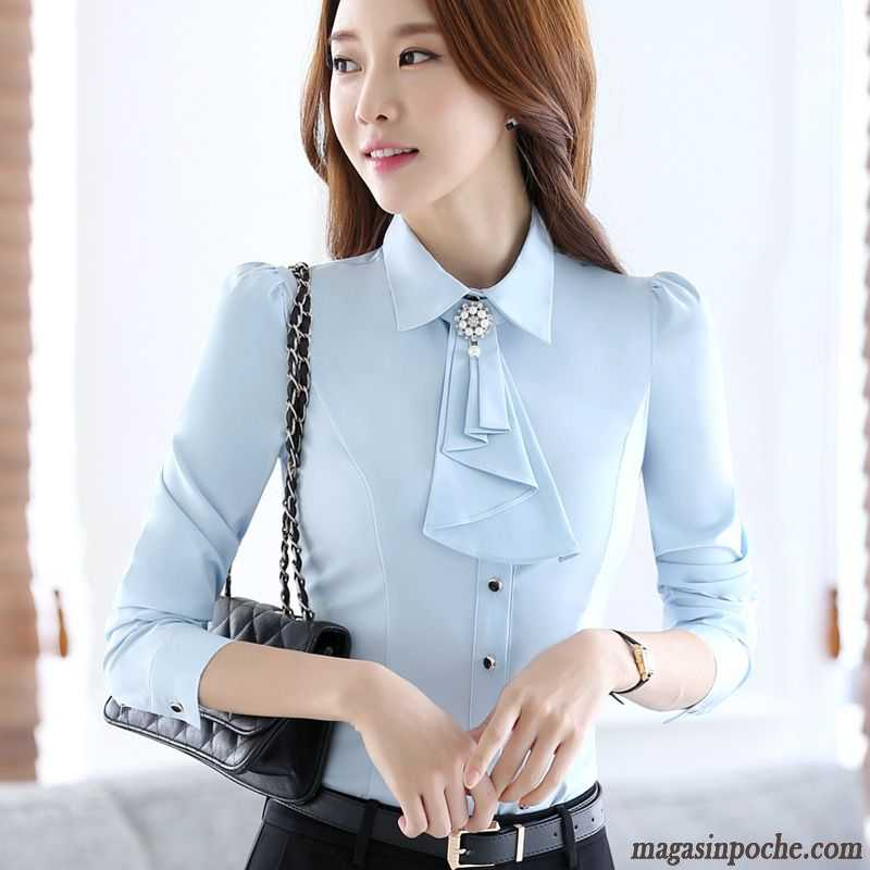 Chemisier Fluide Blanc Slim Femme Simple Chemise Manches Longues Pure  Professionnel Bleu Cobalt 6ce1172577b2