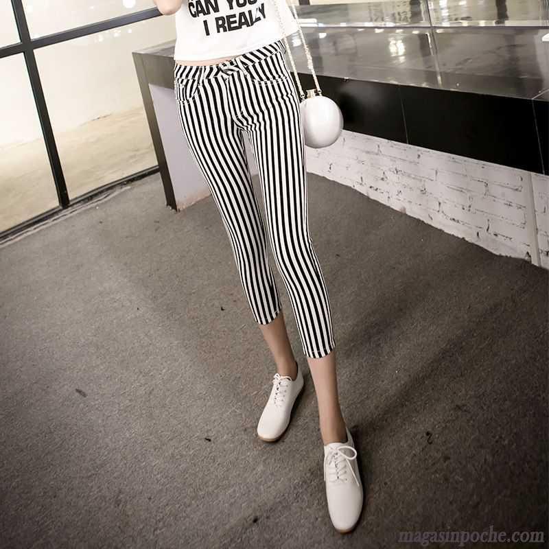 8b36eedf5e345 Combinaison Pantalon Chic Femme Blanc Femme Noir Pantalons Décontractés  Tendance Été Rayé Maigre Mince Vert ...
