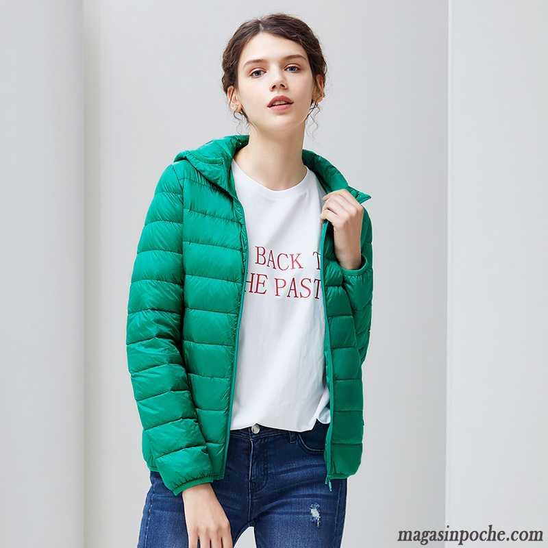 Doudoune Femme Cintrée Duvet L'automne Et L'hiver Femme Doudoune Mode Court Lumière Vêtements D'hiver Mince Gris Fumé Pas Cher