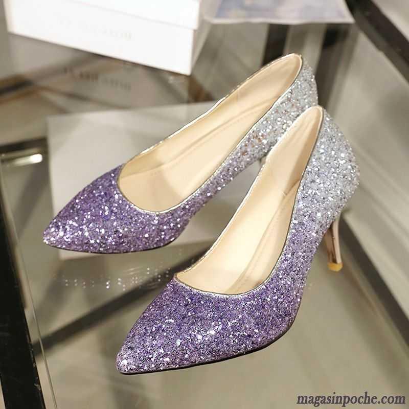 282c41b24b0 Escarpins Beige Doré Tendance Chaussures De Mariage Princesse Cristal Talons  Minces Fête Paillette Blé