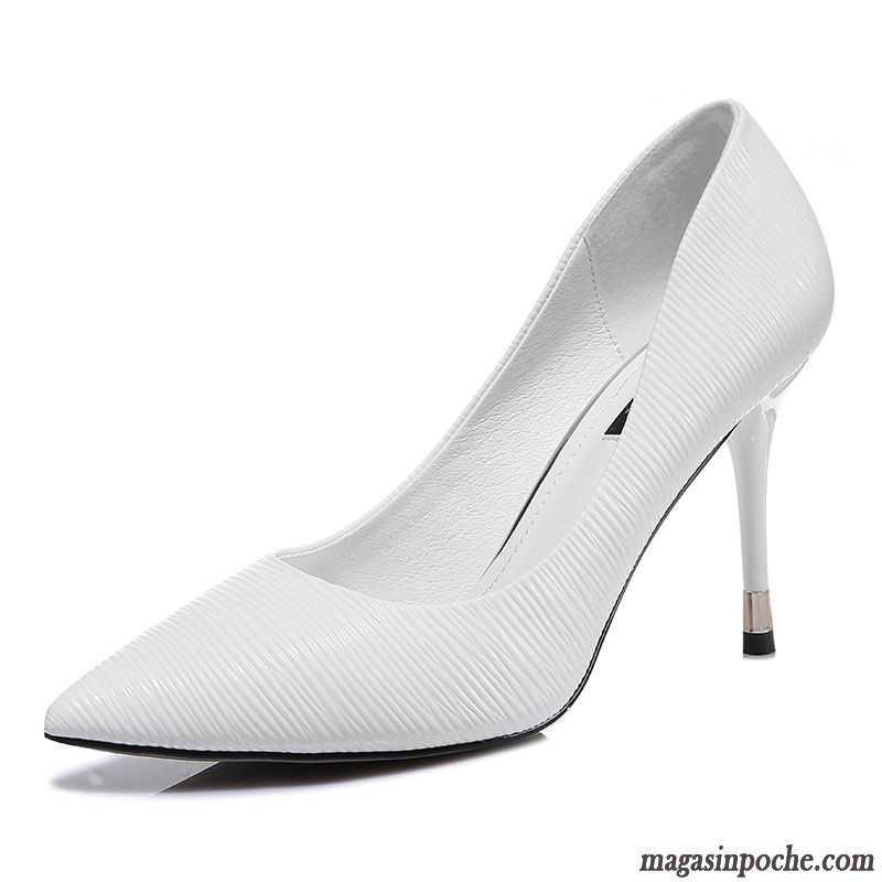 e0e25cdb2548e5 Escarpins Femme En Ligne Blanc Tendance Femme L'automne Pointe Pointue  Chaussures De Mariage Talons Minces ...