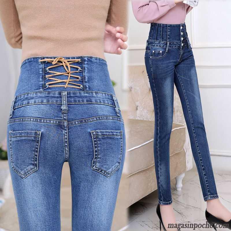 Jean Blanc Taille Haute Automne Pantalons Crayon Slim Femme Pantalon Dame  Jeans Forme Haute Cintrée Mince Écarlate Pas Cher bfbb19942749