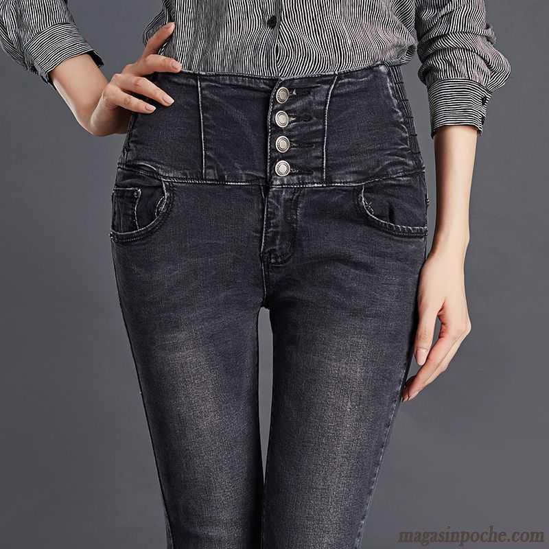 5961082ff7a5e Jean Ciré Femme Forme Haute Cintrée Jeans Femme L'automne Extensible  Moulant Printemps Pantalon Tendance Mince ...