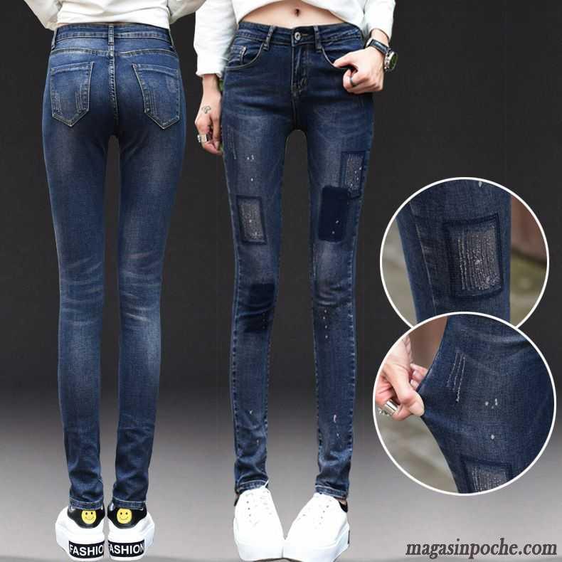 jean droit femme taille haute slim automne campus vent extensible femme jeans mince pantalons. Black Bedroom Furniture Sets. Home Design Ideas