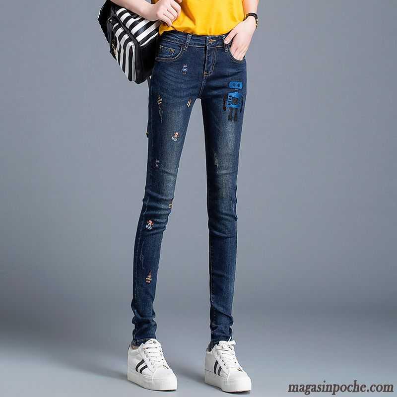 jean elastique femme pantalons crayon mince broder maigre jeans pantalon dame tendance femme. Black Bedroom Furniture Sets. Home Design Ideas