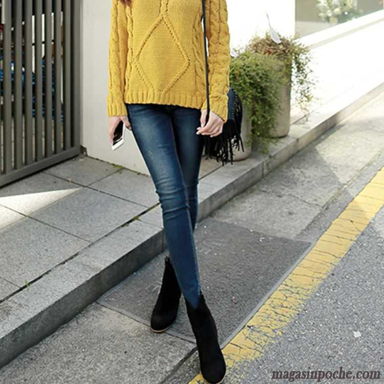 Haute Gris Printemps Trou Jeans Femme Jean Enduit Hiver Personnalité q5H88wB