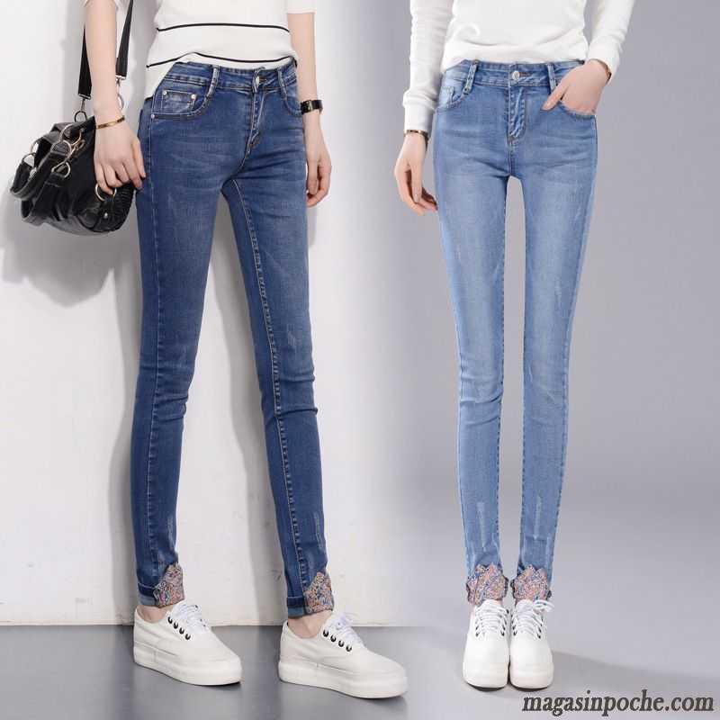 pantalon noir huil femme elastique jeans pantalons crayon l 39 automne dame tendance maigre trou. Black Bedroom Furniture Sets. Home Design Ideas