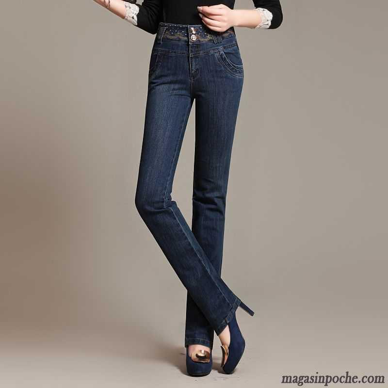 Pantalon stretch femme taille haute femme automne moulant - Jeans femme taille haute coupe droite ...