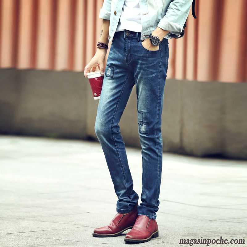 Jean slim homme pas cher maigre pantalon automne tudiant homme noir slim jeans violet - Jean gris clair homme ...