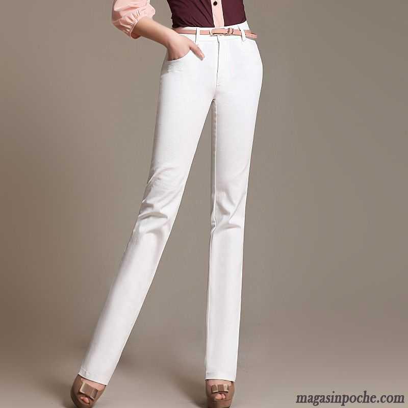 ... Pantalon Femme Taille Haute Blanc
