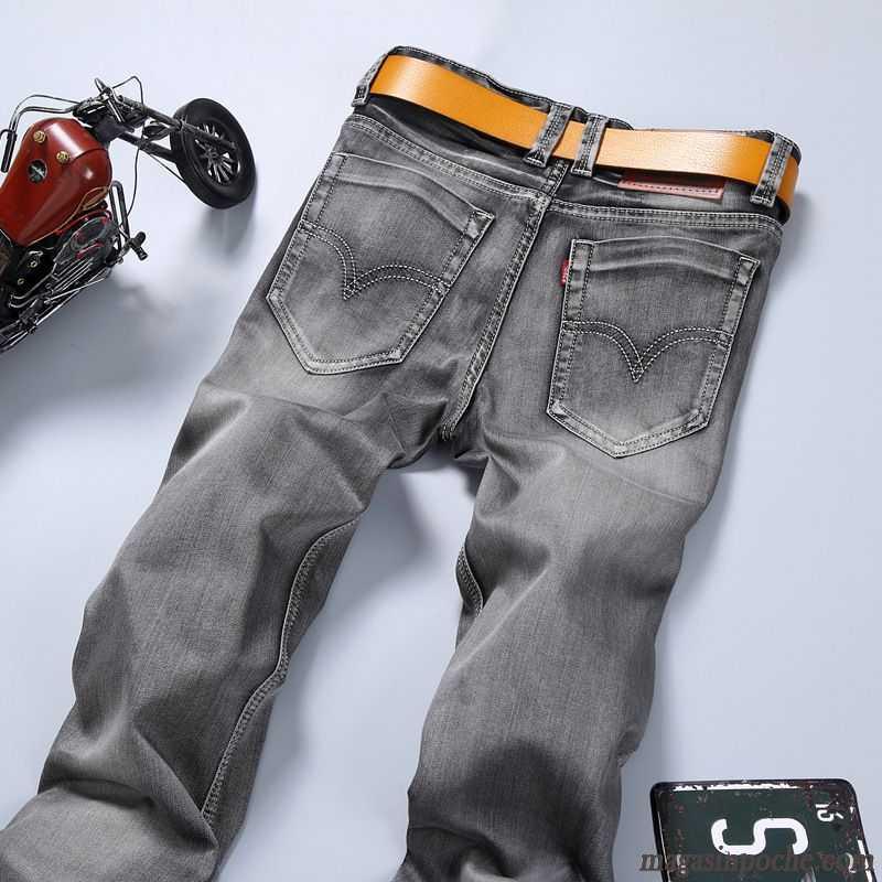 62658eb1f9b Jean Noir Dechiré Homme Jambe Droite Middle Waisted Extensible Slim Homme  Pantalon Gris Jeans Neige