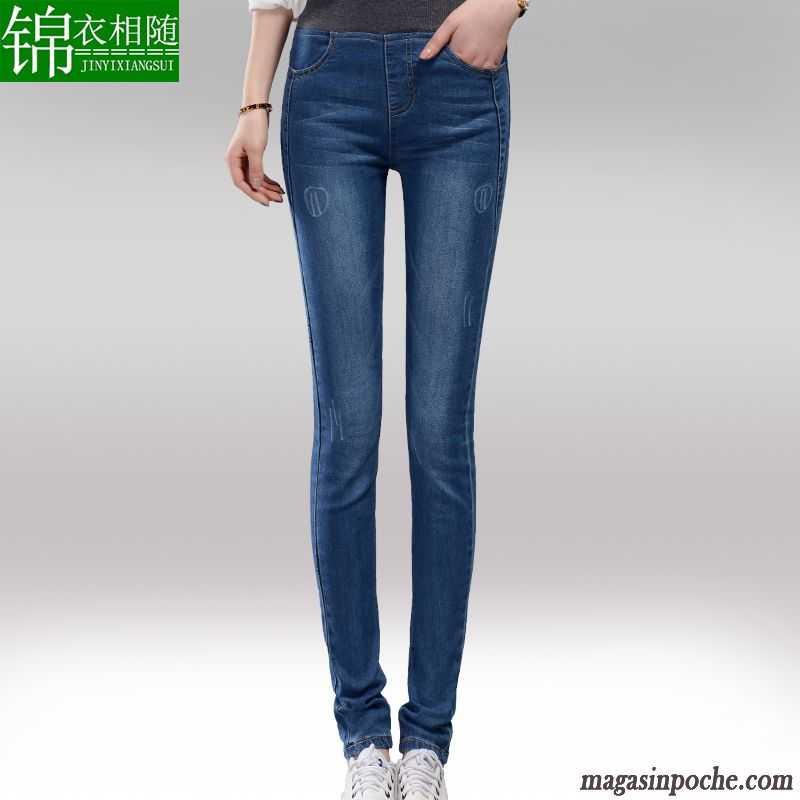 Jean Slim Femme Noir Femme Jeans Forme Haute Cintrée Slim Coton Bio  Pantalon Mince Automne Extensible ... b6a5ff6d49ca