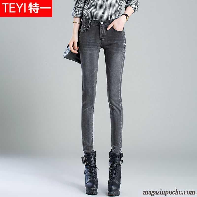 50754057833 Jean Slim Taille Haute Pas Cher Extensible Pantalon Slim Mince Automne  Forme Haute Cintrée Taillissime Graisse Jeans Maigre Femme Blanc ...