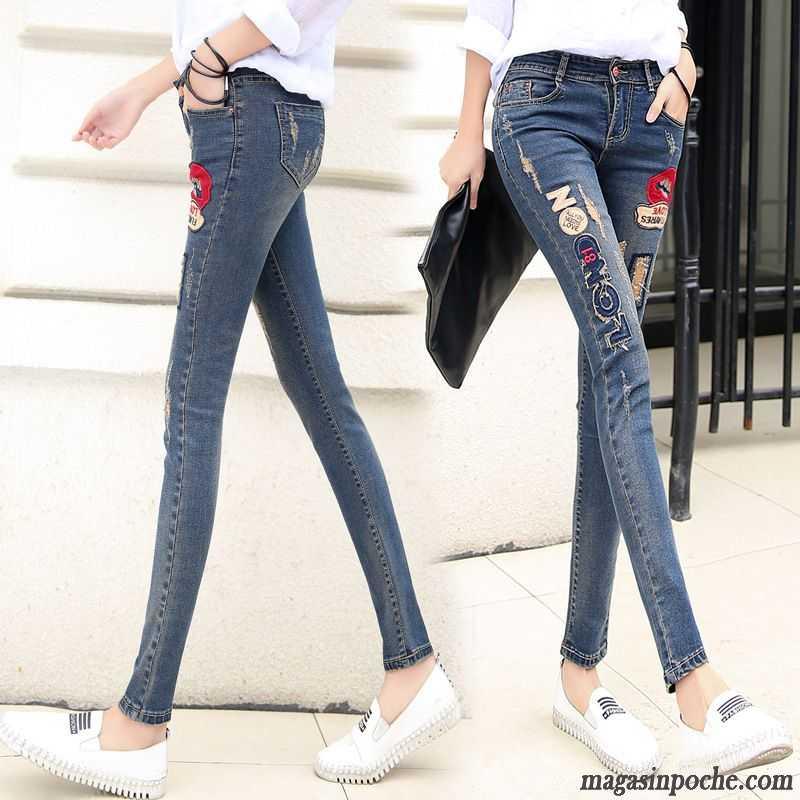 jean taille basse femme pantalon femme middle waisted slim trou motif printemps jeans tomate. Black Bedroom Furniture Sets. Home Design Ideas