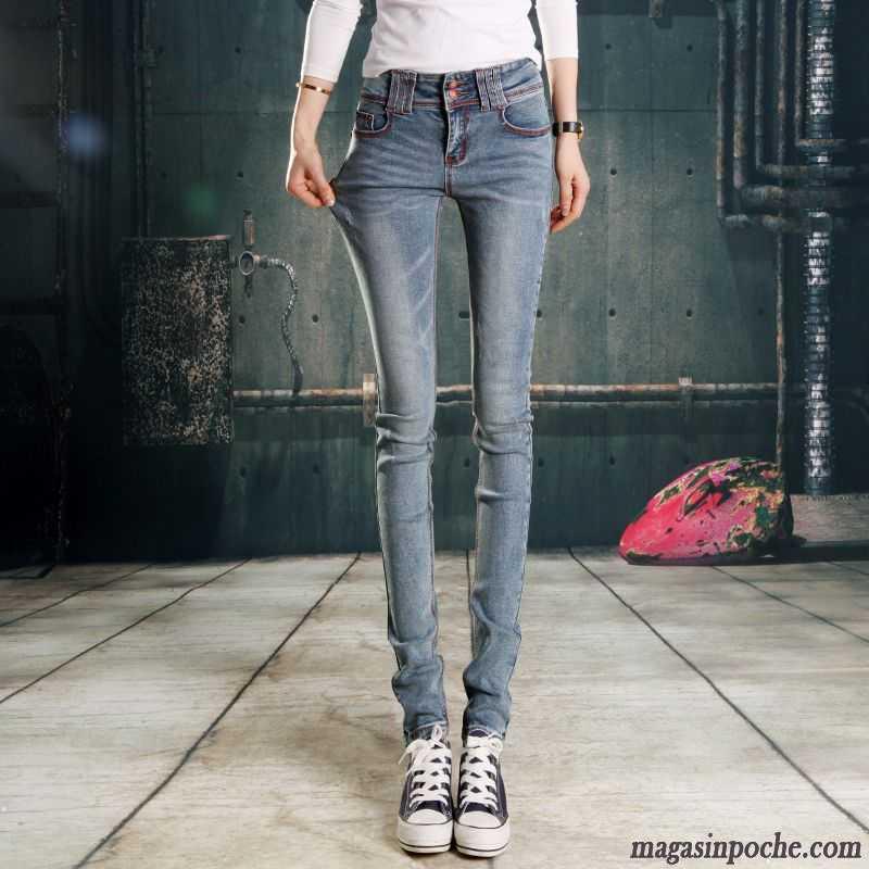 10ffcfe3f3 Jeans Femme Bootcut Pas Cher Bleu Pantalons Crayon Pantalon Jeans Maigre  Femme Tendance Automne Dame Forme ...