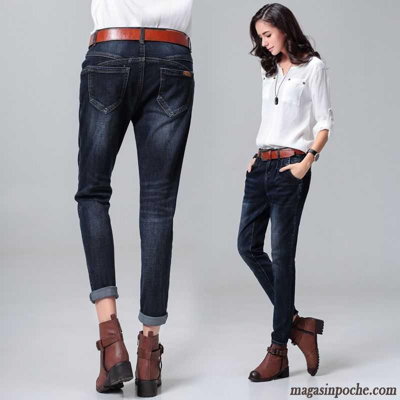 2ef4afbd41b Jeans Femme Pas Cher Marque L automne Et L hiver Femme Extensible Foncé  Décontractée Jeans Mince Taillissime Pantalon Baggy ...