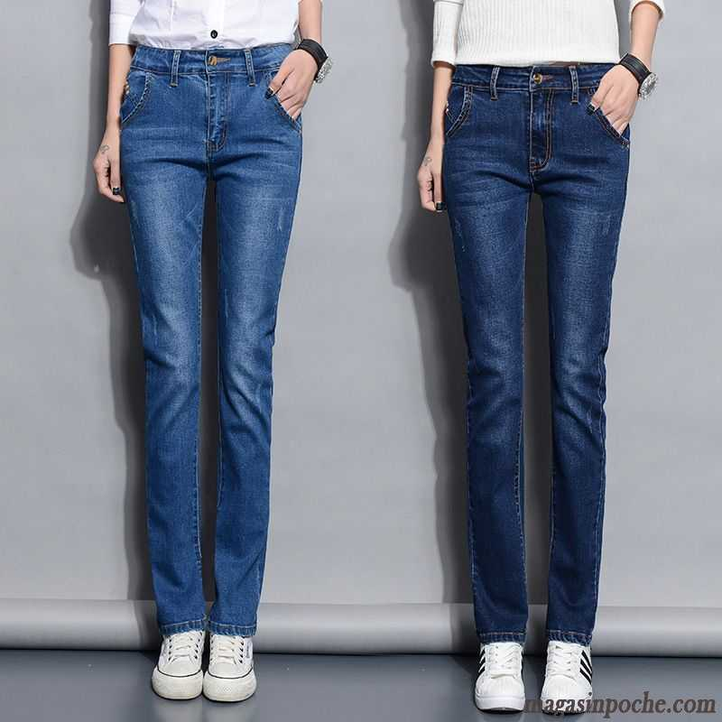 Femme Cher Tendance Taille Grande Jeans Dame Jambe Droite Forme Pas 1TOqUWP
