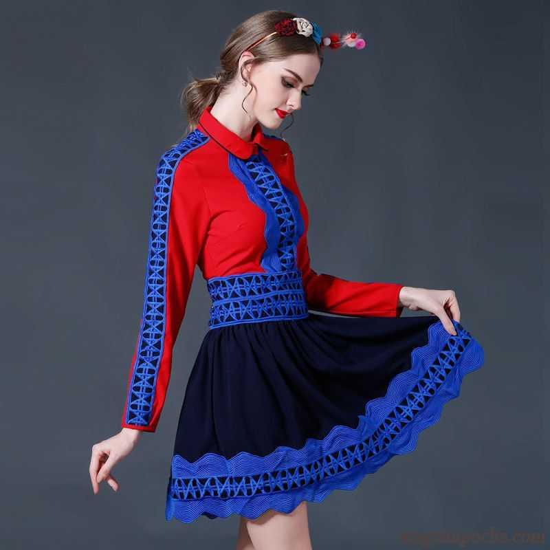 3f6277fbdc7 Jupe Blanche En Lin Dentelle Creux Guipure Robe Manches Longues L automne  Femme Chemise Violette Antique