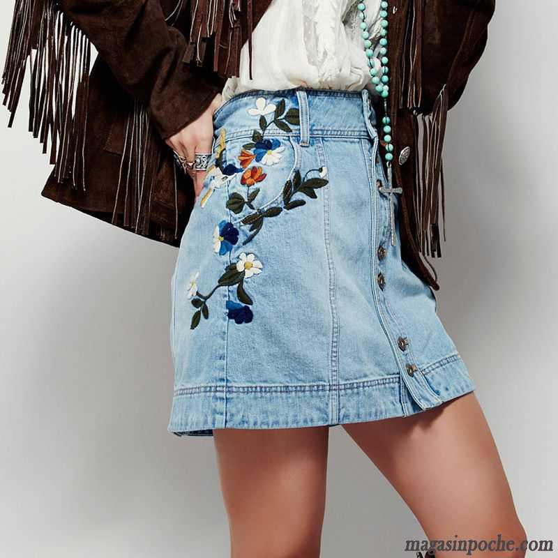 Jupe Courte Bleu Marine Broder Femme Printemps Slim Blanc 90bb79b3e953