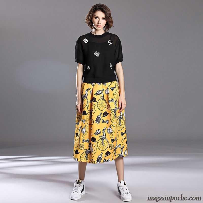 jupe jean grande taille femme automne gros tendance femme ceinture blanc. Black Bedroom Furniture Sets. Home Design Ideas