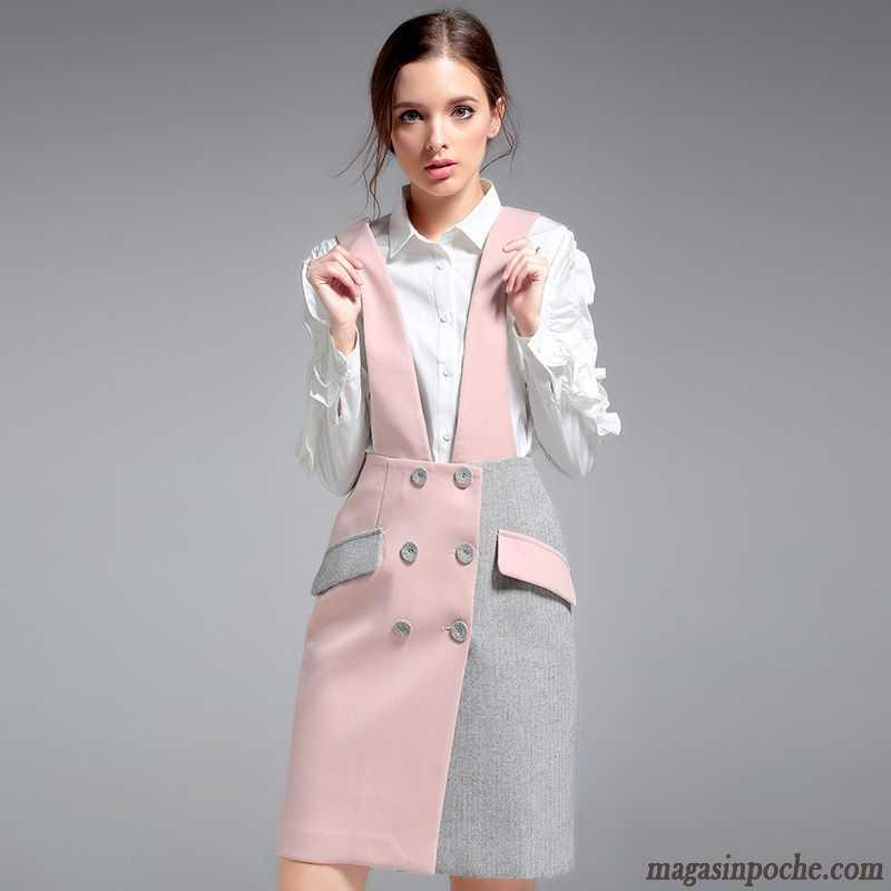 c9a78d63b0f Jupe Patineuse Blanche L automne Et L hiver Jambe Droite Robe Femme Rose  Bretelle Mode Col ...