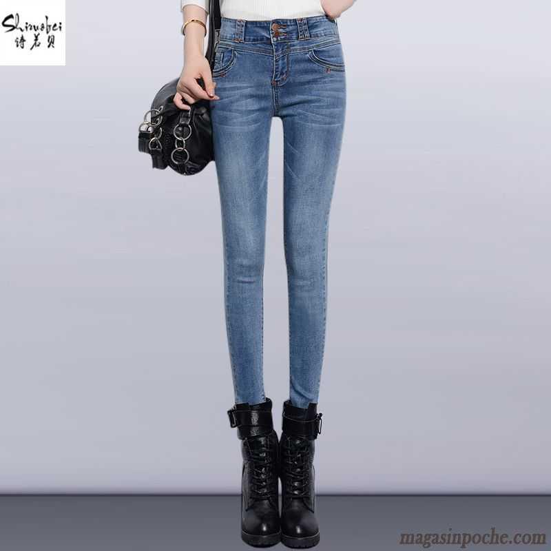b0b616f16d Legging Jean Femme Forme Haute Cintrée Extensible L'automne Et L'hiver Femme  Slim Jeans Mince ...