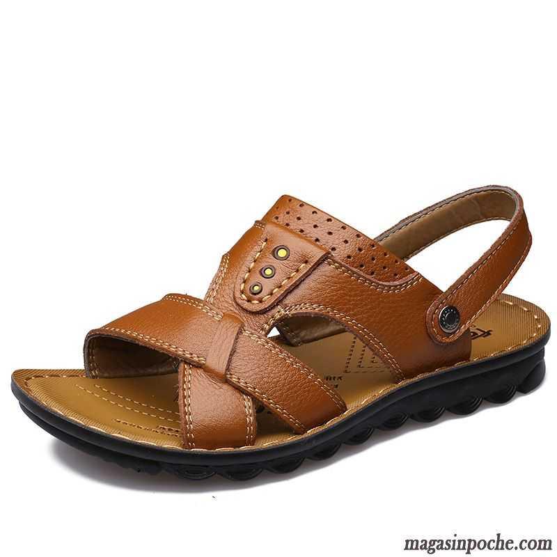 Les Chaussures Sandales Homme Sandales Cuir Veritable Ete Plage