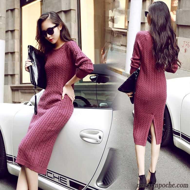 432256726 Les Robes D Été Robe Pull Pullovers Slim En Maille Gros Plus Longueur  Tendance Femme Noir Pas Cher