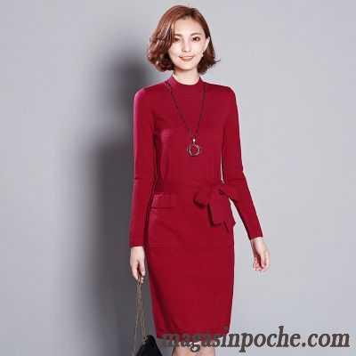 2167be3e068 Les Robes Des Femmes Mince En Maille L automne Et L hiver Robe Slim Femme  Tous ...