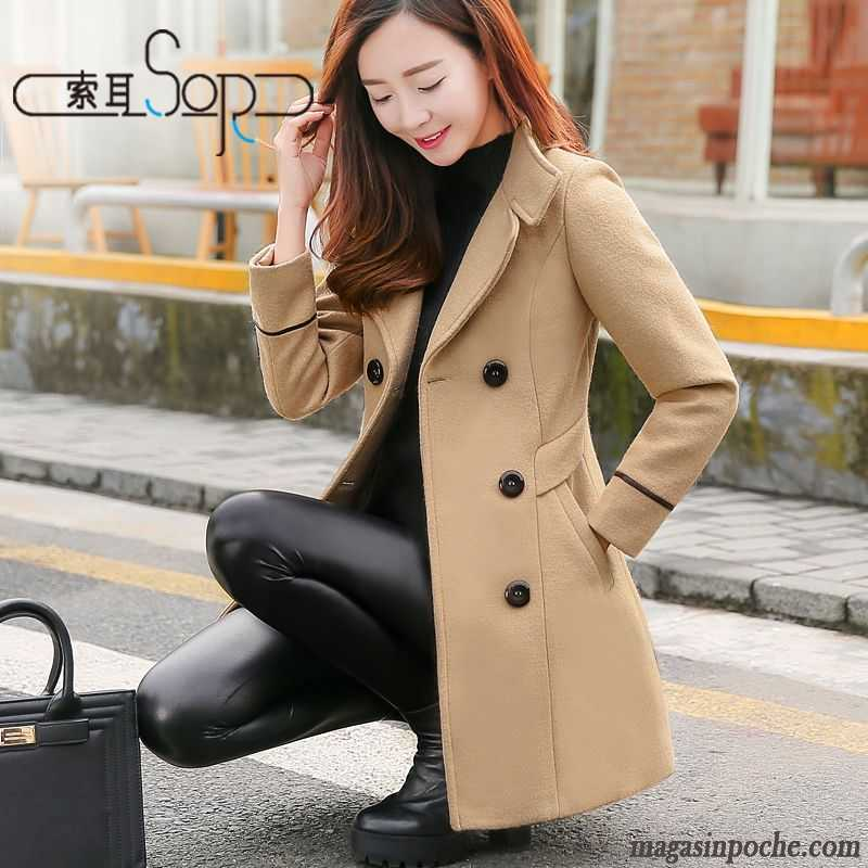3b3f9f719a7ba Manteau Femme Chic Classe Mince Hiver Taillissime De Laine Longue Slim Pas  Cher