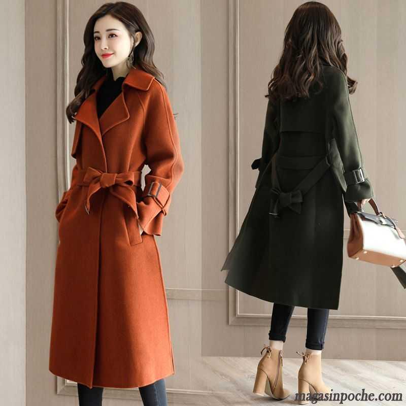 manteau femme de laine longue vert brun l 39 automne et l. Black Bedroom Furniture Sets. Home Design Ideas