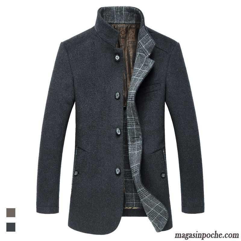 manteau homme capuche d contract e de travail homme pardessus reversible longue manteau de laine. Black Bedroom Furniture Sets. Home Design Ideas