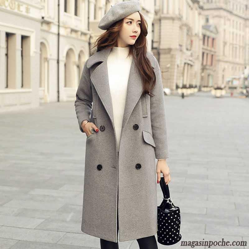 styles classiques style de mode prix de liquidation Manteau Pour Femme Hiver Pardessus De Laine Automne Hiver Renforcé Longue  Gris Pas Cher