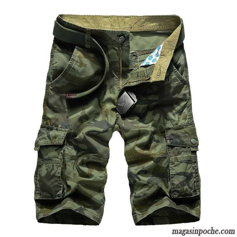 beauté images détaillées vente chaude réel Marque De Pantalon Homme Camouflage Multi-poche Baggy Short Été Shorti  Bureau Coton Bio Homme Écarlate