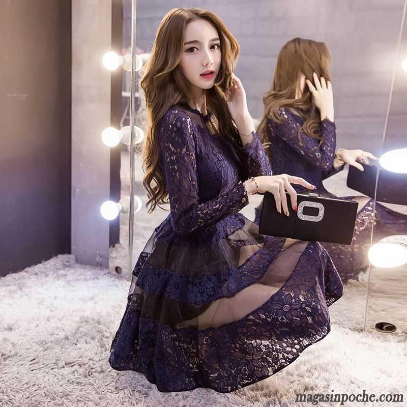 gros en ligne baskets pour pas cher le dernier Marque Robe De Soirée Manches Longues Femme Robe Tendance La Mode Dentelle  Automne Lawngreen
