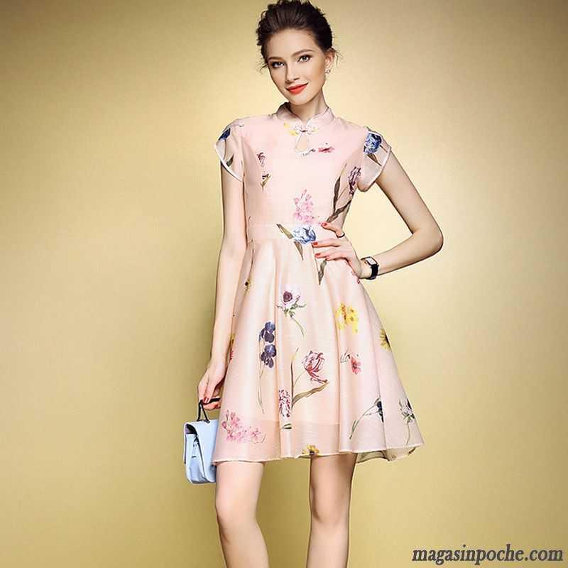 516642af5fc Marque Robe Femme Slim Robe Col Mandarin Impression Tendance Style Chaud  Femme Gros Robe Chinoise Été ...