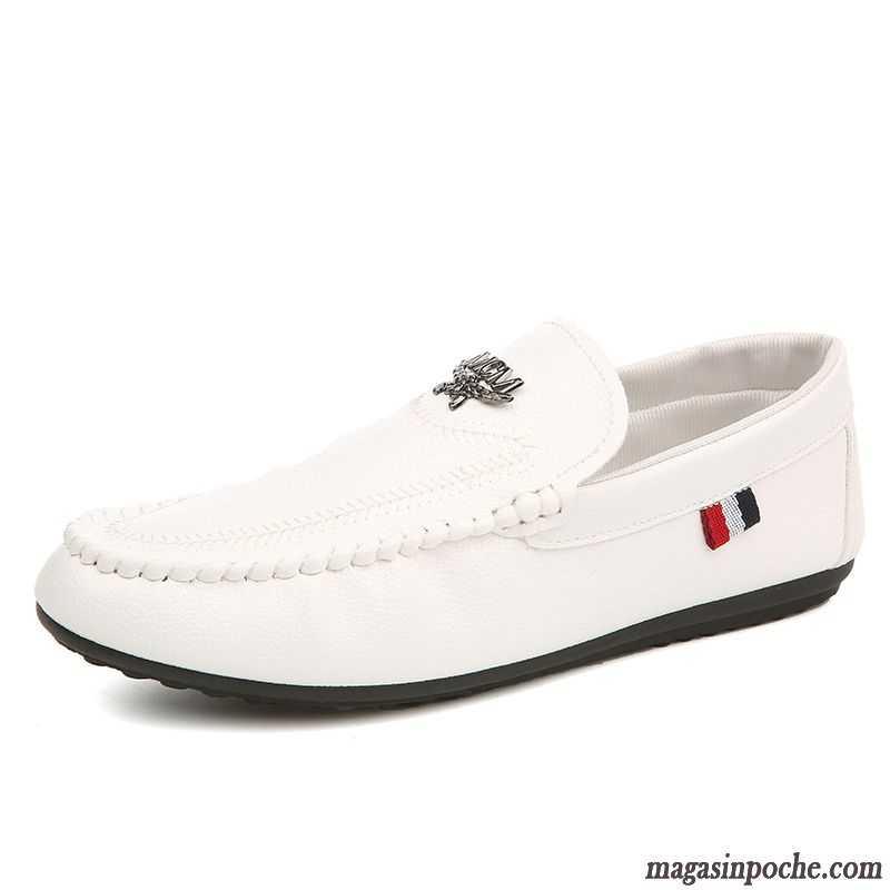 nouvelle arrivee bbd65 e5c16 Mocassin Chaussure Homme Chaussures En Cuir L'automne Homme Blanc Paresseux  Casual Tendance Ivoire