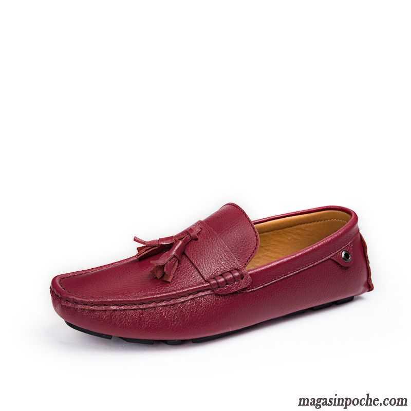 Jeunesse Véritable Homme Slip On Marron Angleterre Mocassin Chaussures Cuir Frange En Casual Été Printemps Rouge Paresseux Tendance 7Ybfvgy6