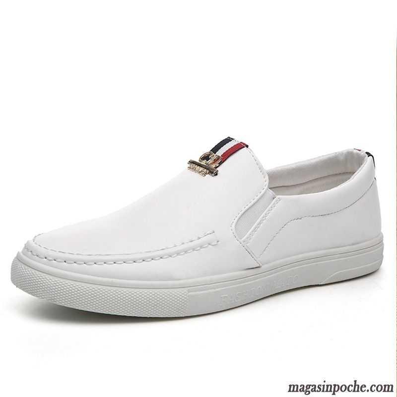 Mocassin Homme Avec Pompon Tendance Chaussures En Cuir L automne Casual  Homme Blanc Paresseux Blanc d402bc93b54b