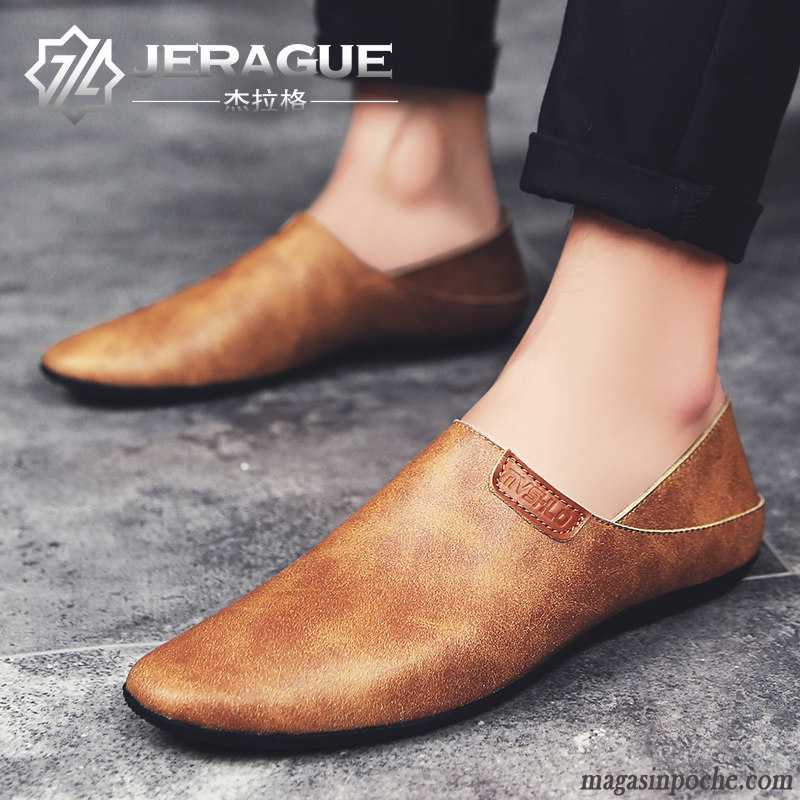 Mocassin Noir Homme Casual Hiver Chaussures En Cuir Pointe Pointue Homme Angleterre Cuir Véritable Tendance Sandybrown