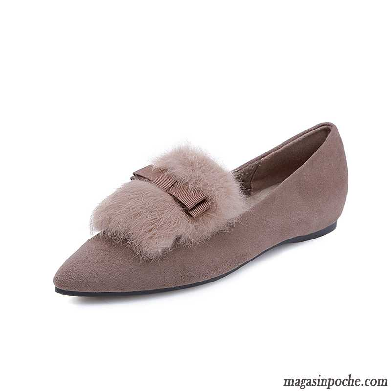 Mocassin Rouge Slip-on Femme Plus De Velours Plates Pointe Pointue Gris Hiver Bleu Royal