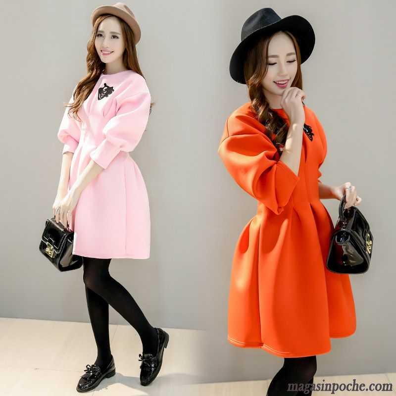 023980f5a5f Modele Robe Femme Doux Gros Robe Impression Femme Taillissime Automne Tout  Noir