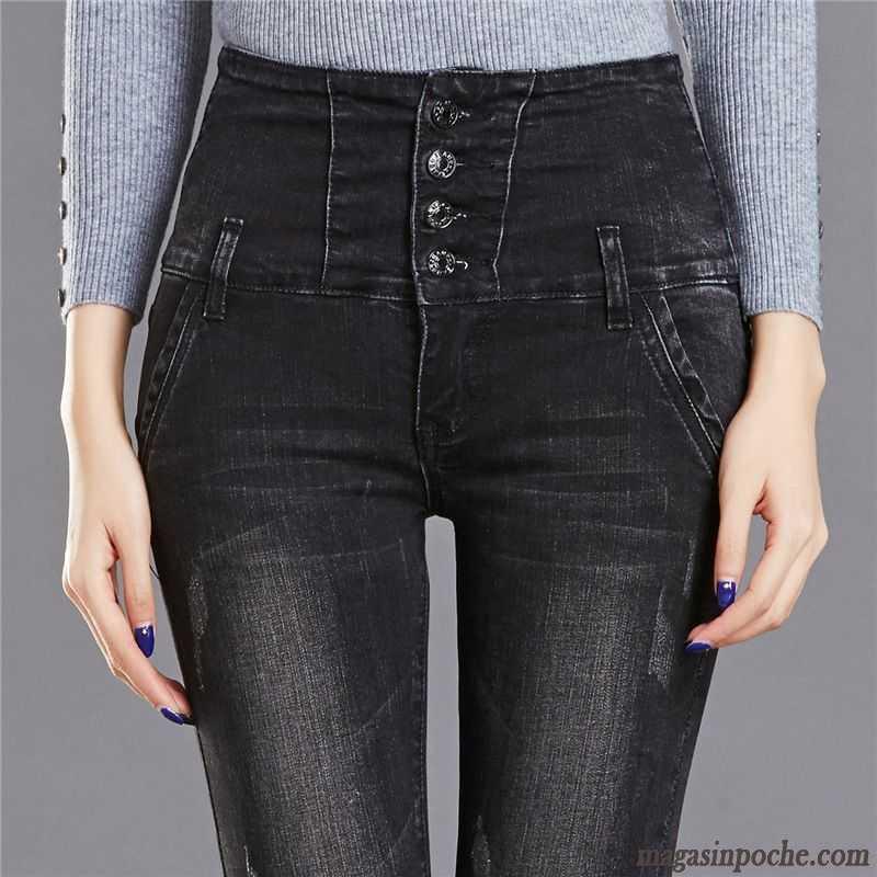 c2c5e3c546d73 Pantacourt Femme En Jean Jeans Forme Haute Cintrée Pantalon Femme Automne  Tendance Mince Maigre Graisse Blanc
