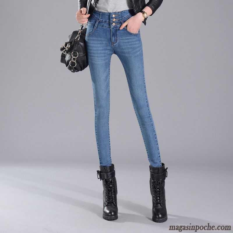 65c665b203 Pantalon À Pince Femme L'automne Maigre Pantalon Décontractée Slim  Printemps Forme Haute Cintrée Jeans Femme ...