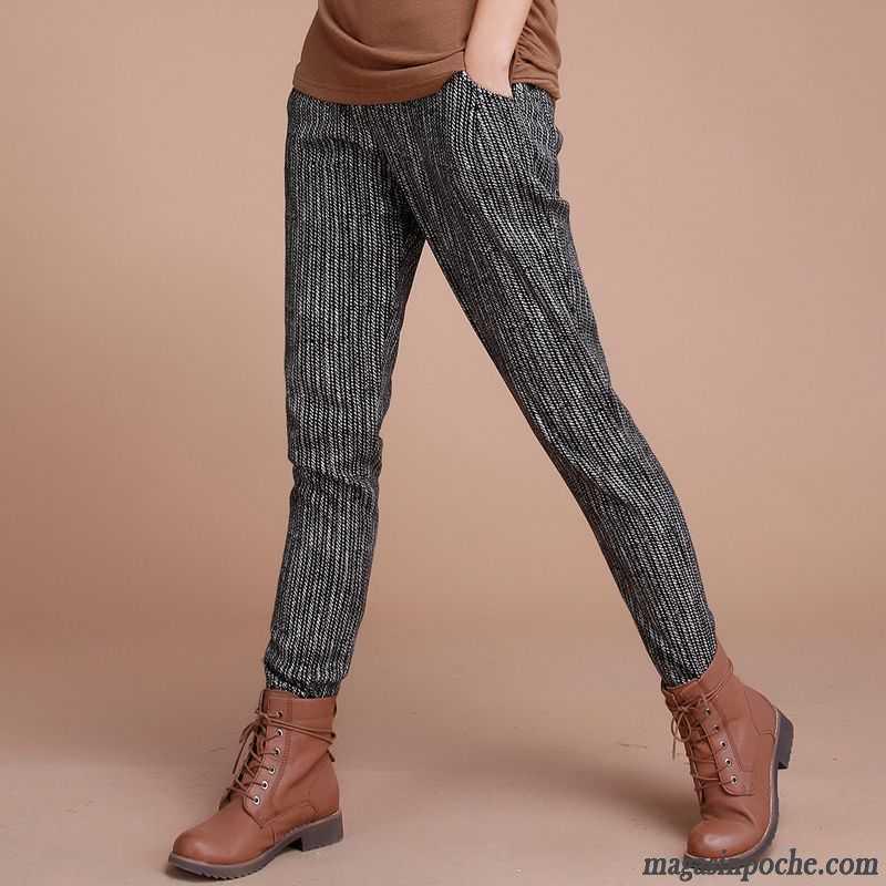 e0abbb51a6d4 Pantalon Fluide Fleuri Harlan Pantalons Décontractés Élastique Renforcé  Tendance Femme Coton L automne Et L hiver Plus De Velours Rayé Blanc