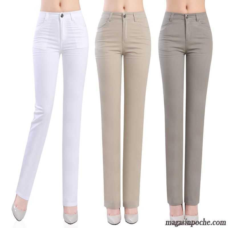 5bc9763321c95 Pantalon Gris Clair Femme Jambe Droite Pantalon Extensible Forme Haute  Cintrée Mince Pantalons Décontractés Femme Automne ...